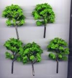 5 Laubbäume, hellgrün, ca. 8 - 9 cm hoch