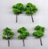 5 Laubbäume, hellgrün, ca. 5 - 6 cm hoch