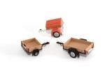 3 verschiedene DDR-PKW-Anhänger, Bausatz